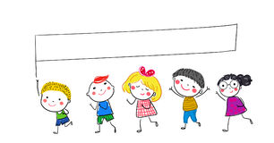 Group of kids and banner Stock Photo