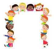 Group of kids and banner Royalty Free Stock Photos