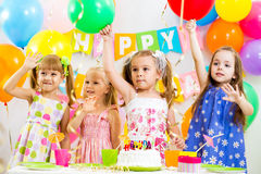 Group of kids at birthday Royalty Free Stock Photos