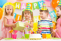 Group of kids at birthday Stock Photos