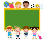 Group of kids and blackboard Royalty Free Stock Photos