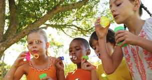 Group of kids blowing bubbles in park