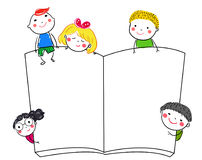 Group of kids and book Stock Images