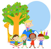 Group of kids and books. Illustration of group of and books Stock Photography