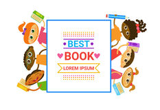 Group Of Kids With Books Reading Cute Children Happy Smiling. Flat Vector Illustration Royalty Free Stock Photos