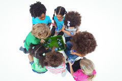 Group of kids with bottles of water royalty free stock photography