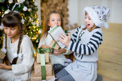 Group of kids with Christmas gifts Royalty Free Stock Photo