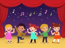 Group of kids dancing and singing a song on the stage. Children's performance