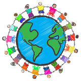 Group of kids with different races holding hands. Vector - Illustration of a group of kids with different races holding hands around the globe Royalty Free Stock Photo