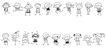 Group of kids,drawing sketch Royalty Free Stock Photography