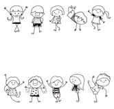 Group of kids,drawing sketch Stock Images
