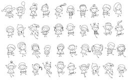 Group of kids,drawing sketch Royalty Free Stock Photo