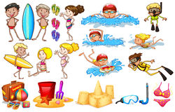 Group of kids enjoying summer. On a white background Royalty Free Stock Photography