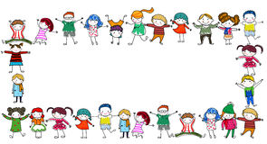 Group of kids frame stock illustration
