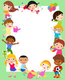 Group of kids frame vector illustration