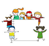 Group of kids frame. Illustration of cute group of kids frame Stock Photo