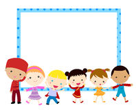Group of kids and frame Stock Photo