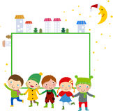 Group of kids and frame - winter Royalty Free Stock Photography