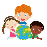 Group of kids and globe Stock Photos