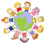 Group of kids and globe. Draw sketch Stock Images