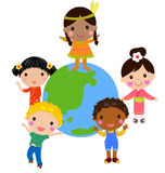 Group of kids and globe Royalty Free Stock Photos