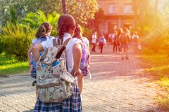 Group of kids going to school together, back to school royalty free stock image