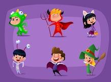 Group of kids in Halloween costume. Cartoon vector stock illustration