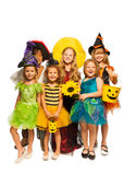 Group of kids in Halloween costumes Stock Photos