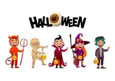 Group of kids in halloween costumes vampire mummy witch frankenstein. Halloween vector stock illustration