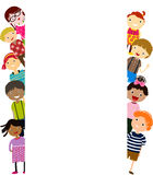 Group of kids having fun and banner Royalty Free Stock Images