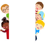 Group of kids having fun and banner Stock Photo