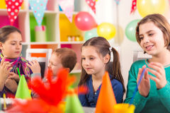 Group of  kids having fun at birthday party Royalty Free Stock Images