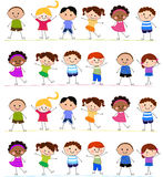 Group of kids having fun. Cartoon Royalty Free Stock Photography