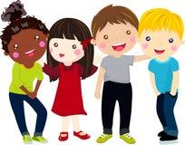 Group of kids having fun vector illustration