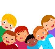 Group of kids having fun. Cartoon Royalty Free Stock Photo