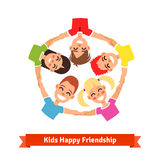 Group of kids holding hands in circle. Happy friendship and teamwork illustration. Flat style vector icon stock illustration