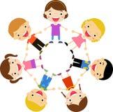Group of kids holding hands standing around. Illustration of group of kids holding hands standing around vector illustration
