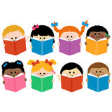 Group of kids icons reading books. Vector icons of happy children reading books stock illustration