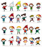Group of kids. Illustration of cute group of winter kids Royalty Free Stock Image