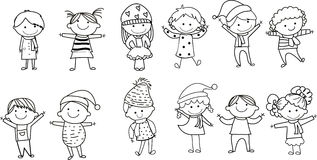 Group of kids. Illustration of cute group of winter kids Royalty Free Stock Images