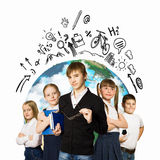 Group of kids. Image of kids of school age. Choosing profession. Elements of this image are furnished by NASA royalty free stock photo