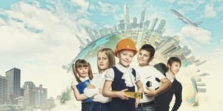 Group of kids. Image of kids of school age. Choosing profession. Elements of this image are furnished by NASA royalty free stock images
