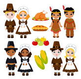 A group of kids - Indians and Pilgrims - sharing food for Thanksgiving. Vector illustration  on white background Royalty Free Stock Photos