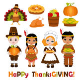 Group of kids - Indians and Pilgrims - sharing food for Thanksgiving. Vector illustration  on white background Royalty Free Stock Images