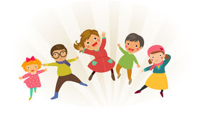 Group of kids jumping with winter clothes Stock Photos
