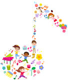 Group of kids and music Stock Photography