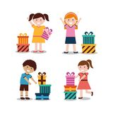 Group of kids with nicely wrapped gift boxes. Vector illustration Royalty Free Stock Photos