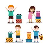 Group of kids with nicely wrapped gift boxes. Vector illustration Stock Photos