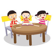 Group of Kids Open Book and learning Royalty Free Stock Images
