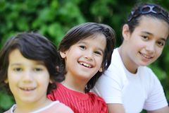 Group of kids outdoors Stock Images